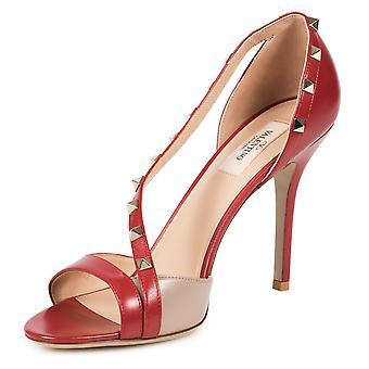Valentino Rockstud Leather d'Orsay Peep Toe Pumps