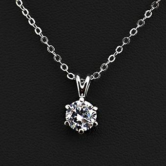 18K White Gold Plated 6 Prongs 1.5 Carat Cubic Zirconia Necklace