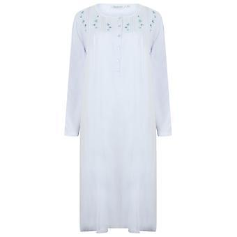 Slenderella ND4121 Frauen's Jersey Floral bestickt Baumwolle Nachthemd