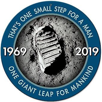Apollo 11 50th Anniversary 'Bootprint' One Small Step round steel sign  360mm diameter (pst)