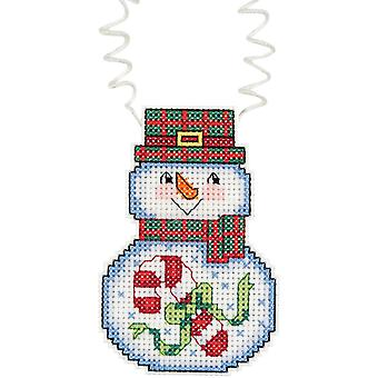 Holiday Wizzers bonhomme de neige avec Candy Cane compté Cross Stitch 3