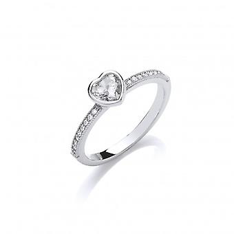 Cavendish Franse CZ helft Band hart Solitaire Sterling Silver Ring