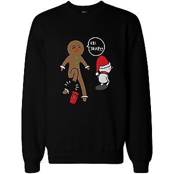 Oh Snap Gingerbread Cookie Broken Leg Because of Snowman's Bucket Sweatshirt