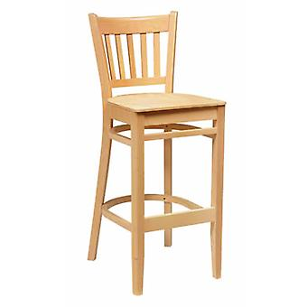 Quality Gredile Beech Wood High Back Bar Stool Fully Assembled