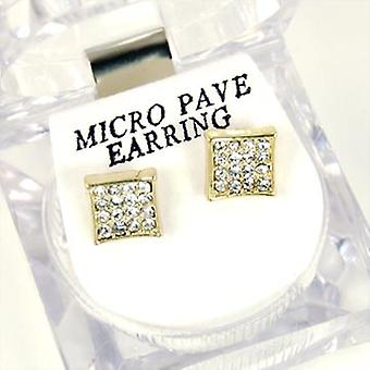 Bling Mirco pave earrings - GOLD SQUARE 8 mm