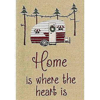Heimat ist wo das Herz ist Wohnmobil Urlaub Campingplatz bestickt Küchentuch