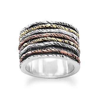 Sterling Silver Oxidized Ring With Tri Tone Bands - Ring Size: 6 to 10