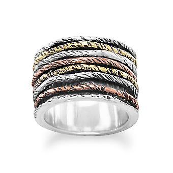Sterling Silver oxiderad Ring med Tri Tone band - Ring storlek: 6 till 10