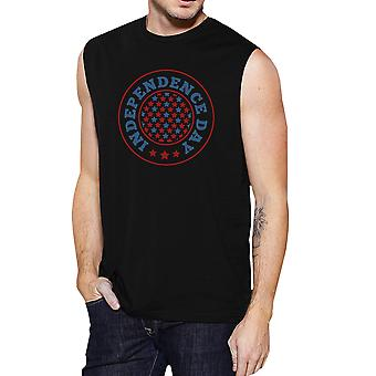 Independence Day Black Crewneck Cotton Graphic Muscle Shirt For Men