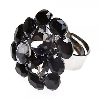 Camille Womens Ladies Fashion Jewellery Black And Silver Tone Adjustable Diamante Cluster Ring