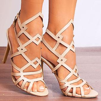 Shoe Closet Ladies Caprice-2 Nude Peep Toes Ankle Strap Strappy Sandals High Heels