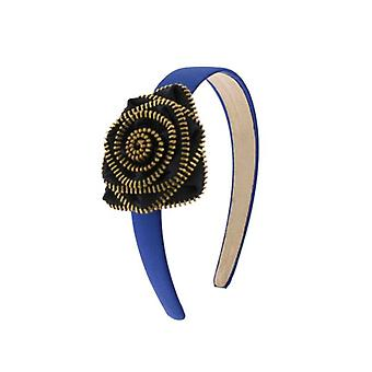 W.A.T Blue Satin Zip Rose Flower Hair Band