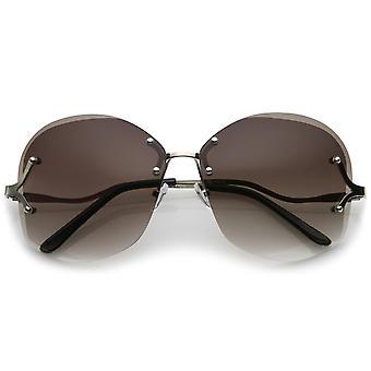 Kvinders buet Metal arme nitte detaljer Oversize linse uindfattede solbriller 66mm