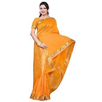 Calabaza - Benares arte seda Sari / sari/Bellydance tela (India)
