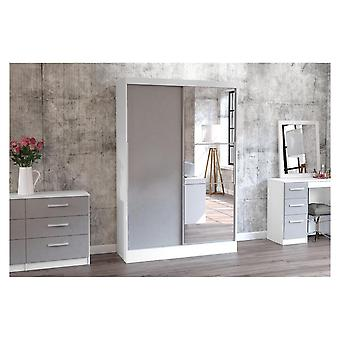 Birlea Lynx 2 Door Sliding Robe With Mirror In White And Grey