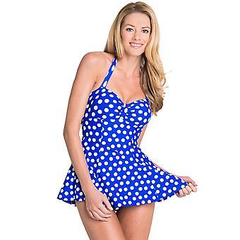 Seaspray Polka Dots Royal Blue Halterneck Control Skirted Swimsuit 15-2165