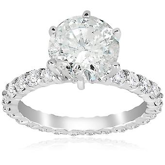 5 carat Enhanced Diamond Engagement Eternity Ring 14K White Gold Round Cut