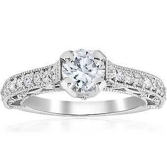 1 3/8ct Vintage Diamond Engagement Ring 14K White Gold