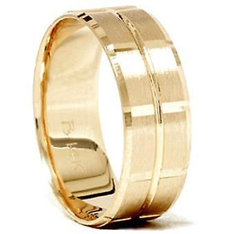 14K Yellow Gold Mens 8mm Swiss Cut Wedding Ring