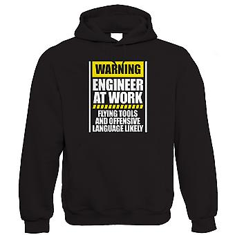 Vectorbomb, Warning Engineer At Work Hoodie (S to 5XL)