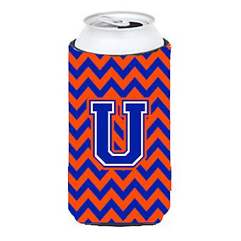 Letter U Chevron Orange and Blue Tall Boy Beverage Insulator Hugger