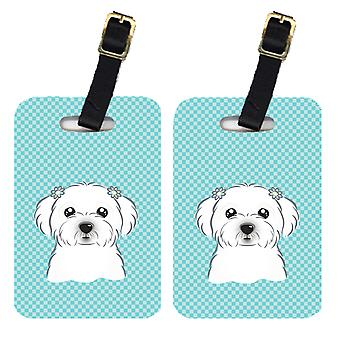 Carolines Treasures  BB1146BT Pair of Checkerboard Blue Maltese Luggage Tags
