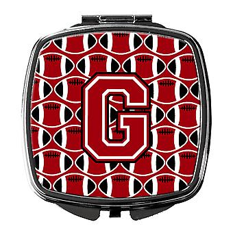 Letter G Football Red, Black and White Compact Mirror