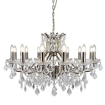 Searchlight 87312-12AB Paris Twelve Light Ceiling Chandelier In Antique Brass With Crystal Glass