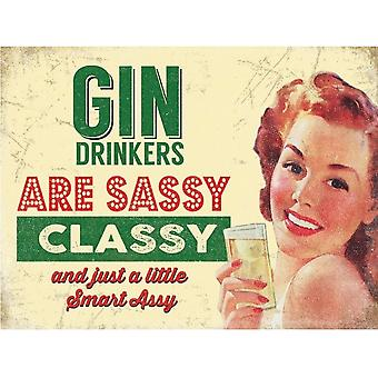Gin Drinkers Sassy Vintage Metal Wall Sign