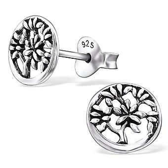 Tree Of Life - 925 Sterling Silver Plain Ear Studs