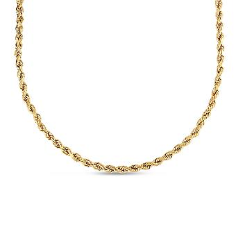 Floreo 10k Yellow Gold Diamond Cut Hollow Rope Chain Necklace with Lobster Claw Clasp , 6mm