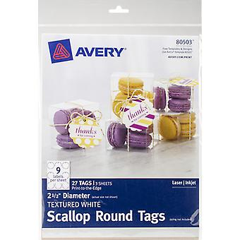 Textured Scallop Round Tags 2.5