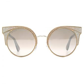 Jimmy Choo Ora Sunglasses In Metallic Beige Glitter Palladium