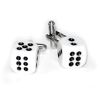 Silver-Tone Men's Cuff Links Pair of DICE Shaped Cufflinks