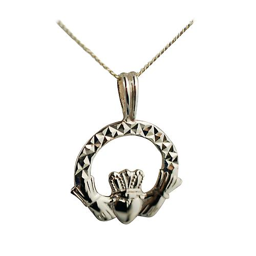 9ct Gold 20x15mm diamond cut Claddagh Pendant with a curb Chain 18 inches