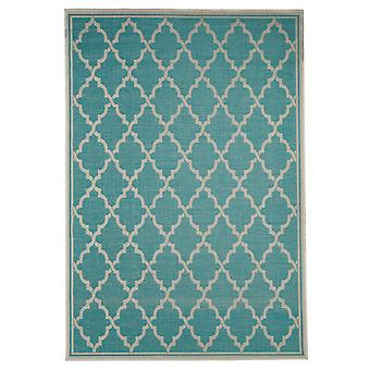 In - and outdoor carpet living room, balcony / terrace turquoise-135 x 190 cm cream