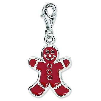 Sterling Silver Rhodium-plated Fancy Lobster Closure Enamel Gingerbread Man With Lobster Clasp Charm - Measures 27x12mm