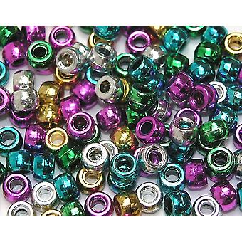 Assorted Metallic Pony Beads for Kids Crafts - 1000pk | Childrens Craft Beads