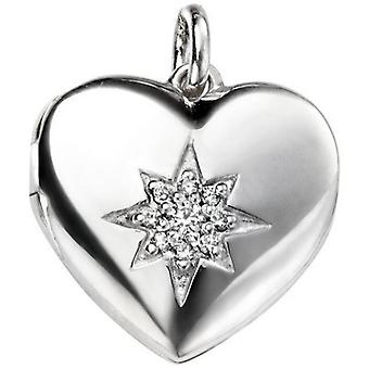Beginnings Cubic Zirconia Star Heart Locket Pendant - Silver