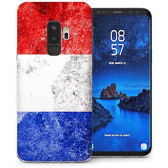 Samsung Galaxy S9 Plus Retro Frankrike flagga TPU Gel Case – vit