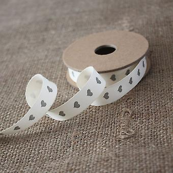 East of India Grey Hearts Ribbon / Gift Wrap 3 meters