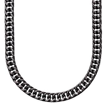Iced out stainless steel MIAMI curb chain - 6 mm black