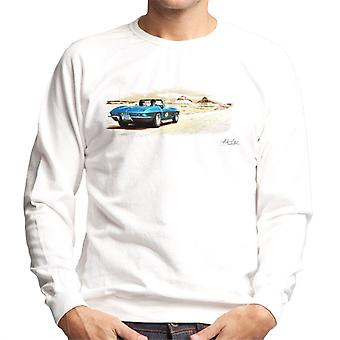 Chevrolet Corvette Stingray Convertible Desert Art White Men's Sweatshirt