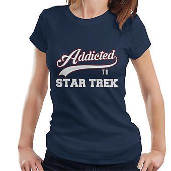 Süchtig nach Star Trek Baseball Schriftart Damen T-Shirt
