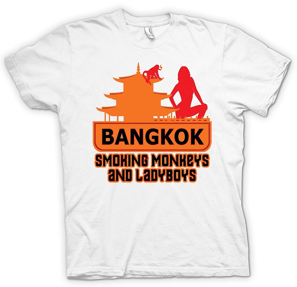 Mens T-shirt - Bangkok - Smoking Monkeys And Ladyboys - Quote