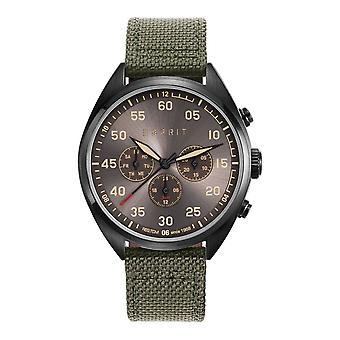 ESPRIT mens watch wristwatch military green nylon ES108791003