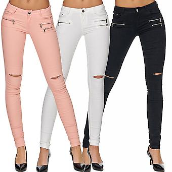 Women's slim jeans trousers skinny tube jeans stretch hipster jeans low waist tube zip