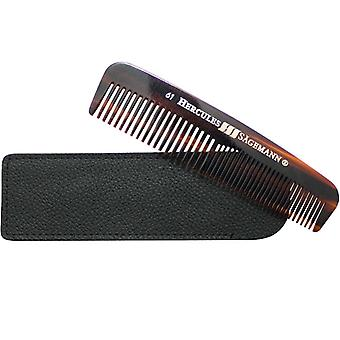 Hercules Sagemann Mens Hair Comb Sawcut in Leather Pouch 5""