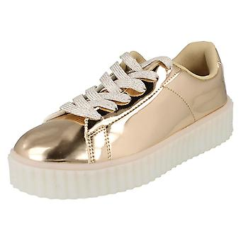 Ladies Spot On Casual Lace Up LED Outsole Creeper Trainers F80189