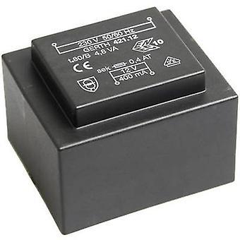 PCB mount transformer 1 x 230 V 1 x 12 V AC 4.80 VA 400 mA PT421201 Gerth